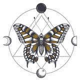 Tatouage de papillon dans la triangle Phases de lune illustration libre de droits