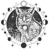 Tatouage de tête de renard de vecteur ou conception d'impression de T-shirt illustration de vecteur