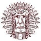 Tatouage de vecteur avec le visage indien - illustration Photo stock