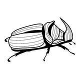 Tatouage de vecteur de scarabée de rhinocéros pour le T-shirts Images libres de droits