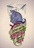 Tatouage de vintage d'un chat-marin Images libres de droits