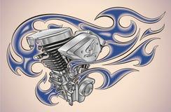 Tatouage flamboyant de moteur illustration libre de droits