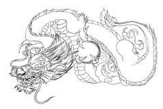 Tatouage japonais de dragon Tatouage japonais de conception de dragon d'ensemble pour le bras Image libre de droits