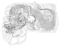 Tatouage japonais de dragon Tatouage japonais de conception de dragon d'ensemble pour le bras Photos libres de droits