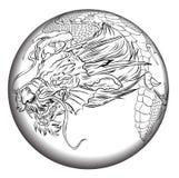Tatouage japonais de dragon Tatouage japonais de conception de dragon d'ensemble pour le bras Image stock