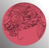Tatouage japonais de dragon Tatouage japonais de conception de dragon d'ensemble pour le bras Photographie stock libre de droits