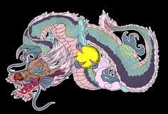 Tatouage japonais de dragon Tatouage japonais de conception de dragon d'ensemble pour le bras Images libres de droits