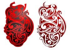 Tatouage maori de style comme forme de coeur illustration libre de droits