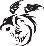 Tatouage noir de vol de dragon de vecteur illustration de vecteur
