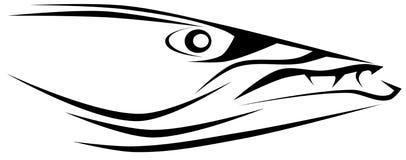 Tatouage stylisé de tête de barracuda d'isolement Photos libres de droits