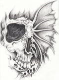 Tatouage surréaliste de crâne d'art Image stock
