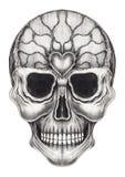 Tatouage surréaliste de crâne d'art illustration de vecteur