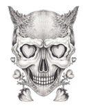 Tatouage surréaliste de crâne d'art illustration libre de droits