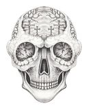 Tatouage surréaliste de crâne d'art Photo stock
