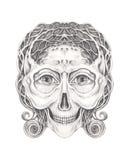 Tatouage surréaliste de crâne d'art illustration stock