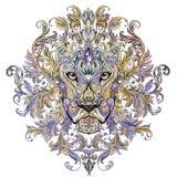 Tatouage, tête de graphiques d'un lion avec une crinière Images libres de droits