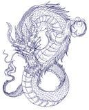 Tatouage tiré par la main de dragon, style japonais de livre de coloriage Photographie stock libre de droits