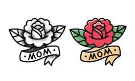 Tatouage traditionnel de rose illustration de vecteur