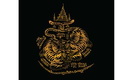 Tatouage traditionnel tha?landais, peinture traditionnelle tha?landaise dans le temple, vecteur illustration libre de droits