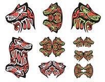Tatouages de tête de loup de Haida Photo libre de droits