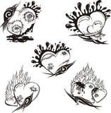 Tatouages stylisés avec des coeurs Photos libres de droits
