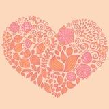 Tatouez l'ensemble d'éléments floral de griffonnage sous la forme de coeur Utilisé pour Images stock