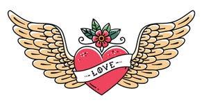 Tatouez le coeur avec les ailes, la fleur et le ruban avec amour de lettrage Style de vieille école Coeur de vol Dessin de schéma Photos stock