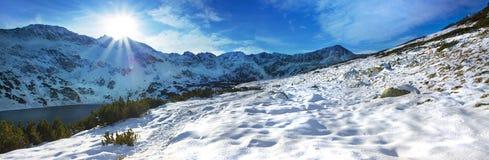 tatra山的全景冬天视图 免版税库存照片