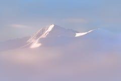 Tatra berg i den dimmiga morgonen Mystiska pastellfärgade färger Royaltyfri Fotografi