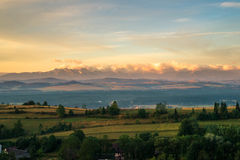 Tatra berg i morgonljus Arkivbild