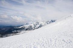Tatra berg i vinter Arkivfoto