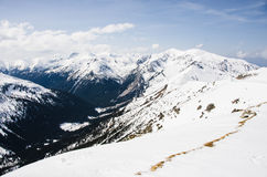 Tatra berg i vinter Arkivfoton