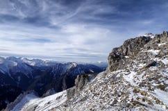 Tatra berg i vinter arkivbild