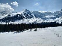 Tatra-Berge im sein weißer und sonniger Frühling lizenzfreie stockfotografie