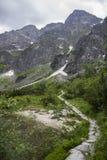 Tatra mountain peaks, Morskie Oko lake. Eye of the Sea lake in Tatra mountains, Poland. Polish Tatra mountains Morskie Royalty Free Stock Image