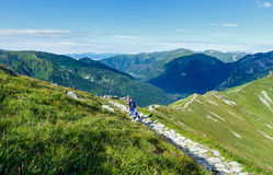 Summer Tatra Mountain (Poland) and family on path Stock Images