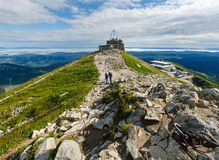 Summer Tatra Mountain (Poland) and family on path Royalty Free Stock Image