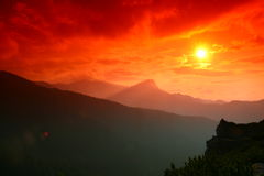 Tatra mountain sunset Stock Image