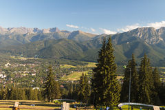 Tatra mountains. Scenic iew of Tatra mountains with town of Zakopane in foreground, Poland Royalty Free Stock Images