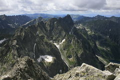 Tatra mountains. Climbing for the highest peak in Polish mountains stock photo