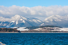 Tatra Mountains and big lake in winter time Royalty Free Stock Photography