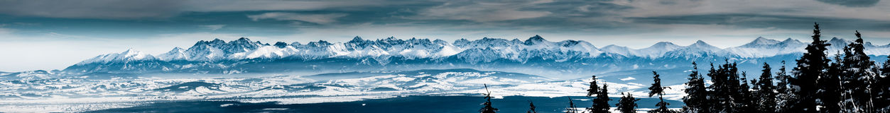Tatra mountains big panorama from Babia Gora Royalty Free Stock Photography