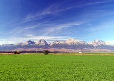The Tatra Mountains & green field royalty free stock image