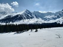 Tatra mountains im its white and sunny spring royalty free stock photography