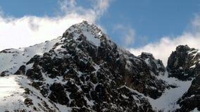 Tatra Mountains landscape. Lomnicky stit hill in Tatra mountains winter landscape timelapse stock video footage