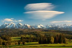 Tatra Mountains panorama. A view of The Tatra Mountains and forest in spring time Stock Photo
