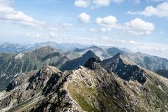 Tatra mountains panorama from Hruba kopa peak on Rohace mountain group in Slovakia. Tatra mountains panorama from Hruba kopa peak on Rohace mountain group in royalty free stock image