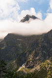 Tatra mountains, peak in the clouds. Royalty Free Stock Photography