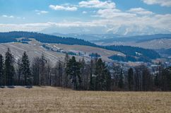 Tatra Mountains, photo was taken from Pieniny mts. March 2018 royalty free stock photography