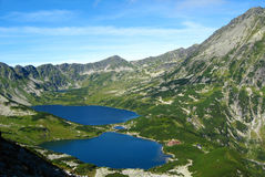Tatra mountains in Poland, green hill, valley and rocky peak in the sunny day with clear blue sky Royalty Free Stock Image
